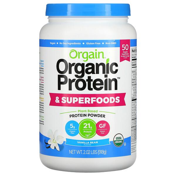 Organic Protein & Superfoods Powder, Plant Based, Vanilla Bean, 2.02 lbs (918 g)