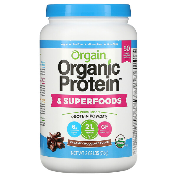 Organic Protein & Superfoods Powder, Plant Based, Creamy Chocolate Fudge, 2.02 lbs (918 g)