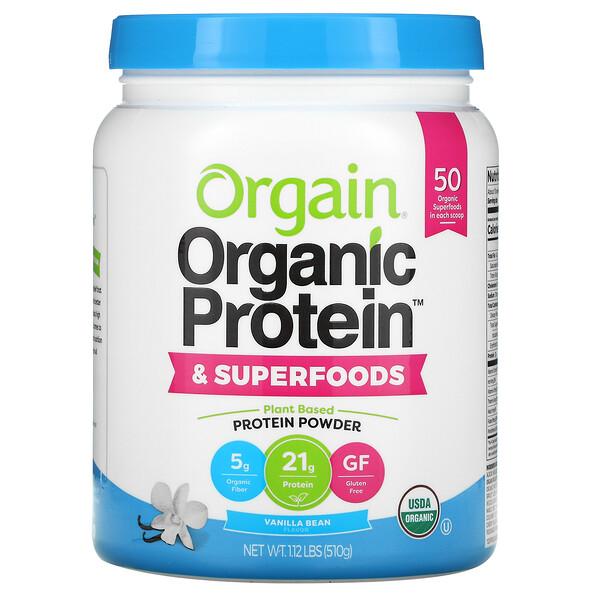 Organic Protein + Superfoods Powder, Plant Based Protein Powder, Vanilla Bean, 1.12 lb (510 g)
