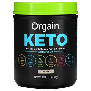 Orgain, Keto, Ketogenic Collagen Protein Powder with MCT Oil, Chocolate, 0.88 lb (400 g)