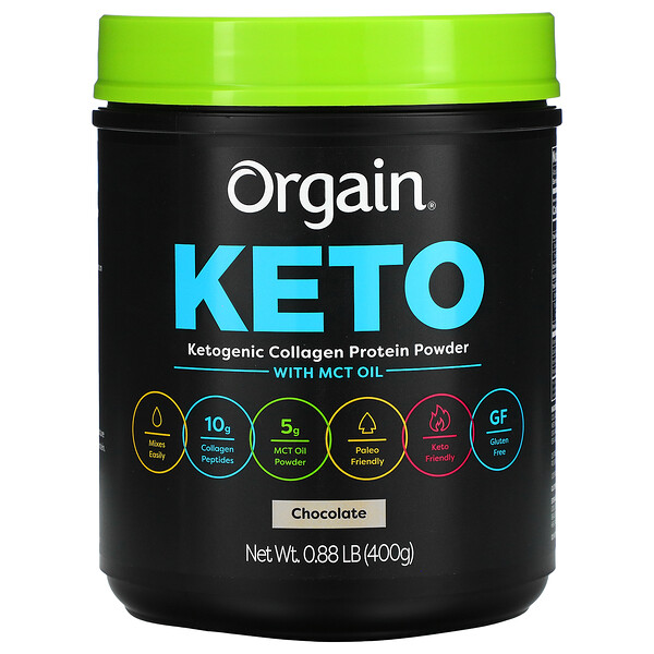 Keto, Ketogenic Collagen Protein Powder with MCT Oil, Chocolate, 0.88 lb (400 g)