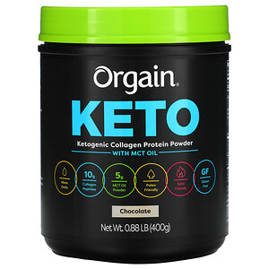 Orgain, Keto, Ketogenic Collagen Protein Powder with MCT Oil, Chocolate, 0.88 lb (400 g)'
