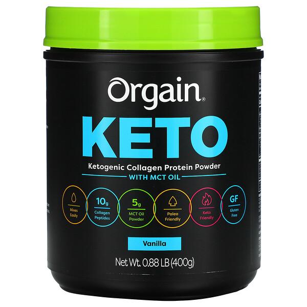 Keto, Ketogenic Collagen Protein Powder with MCT Oil, Vanilla, 0.88 lb (400 g)