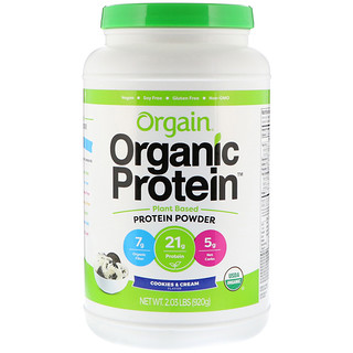 Orgain, Organic Protein Powder, Plant Based, Cookies & Cream, 2.03 lb (920 g)