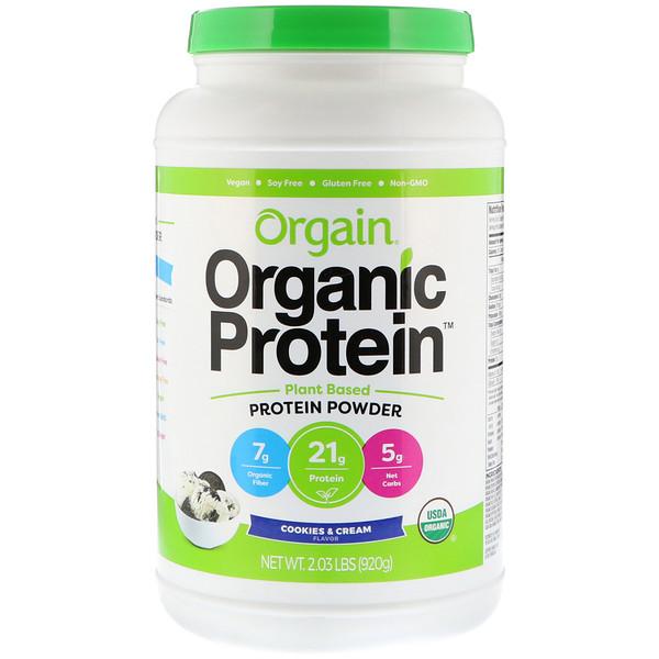 Orgain, Organic Protein Powder, Plant Based, Cookies & Cream, 2.03 lb (920 g)