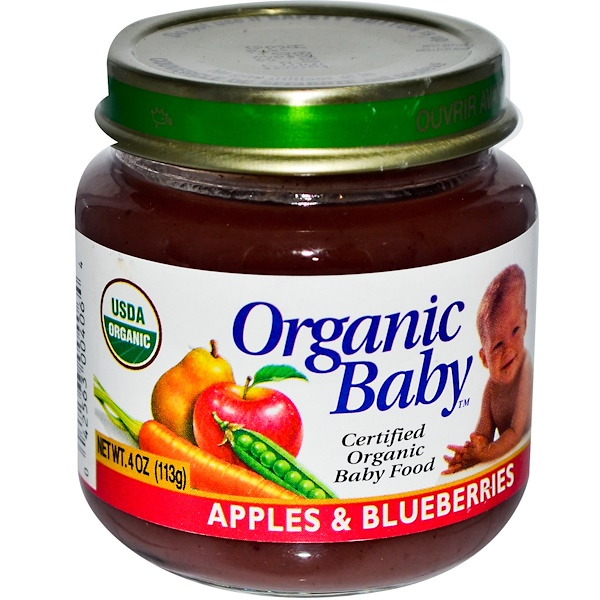 Organic Baby, Certified Organic Baby Food, Apples & Blueberries, 4 oz (113 g) (Discontinued Item)
