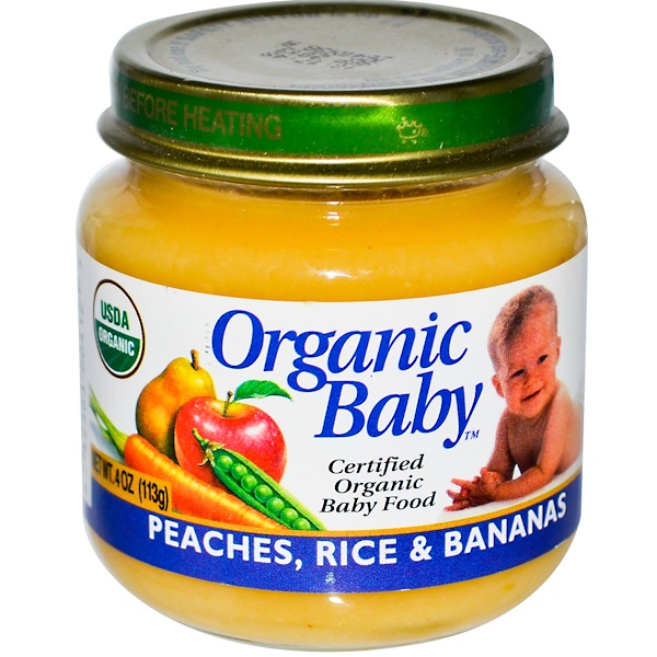Organic Baby, Certified Organic Baby Food, Peaches, Rice & Bananas, 4 oz (113 g) (Discontinued Item)