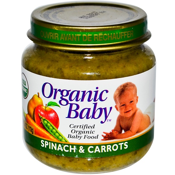 Organic Baby, Certified Organic Baby Food, Spinach & Carrots, 4 oz (113 g) (Discontinued Item)