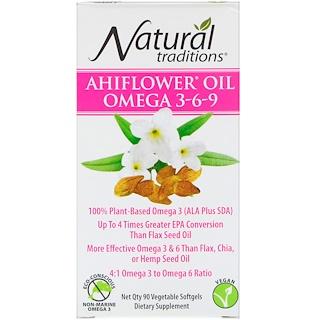 Organic Traditions, Ahiflower Oil Omega 3-6-9, 90 Vegetable Softgels