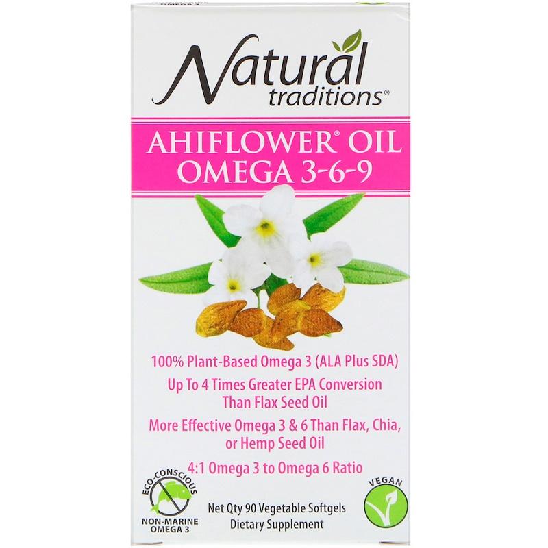 Ahiflower Oil Omega 3-6-9, 90 Vegetable Softgels