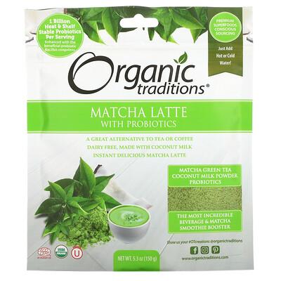 Organic Traditions Matcha Latte with Probiotics, 5.3 oz (150 g)