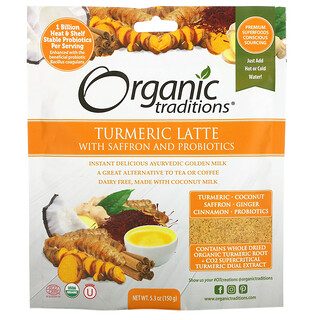 Organic Traditions, Turmeric Latte with Saffron and Probiotics, 5.3 oz (150 g)