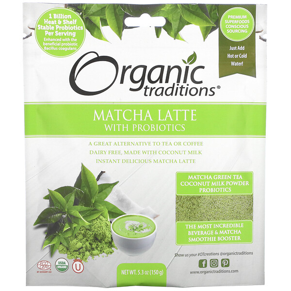 Organic Traditions, Matcha Latte with Probiotics, 5.3 oz (150 g)