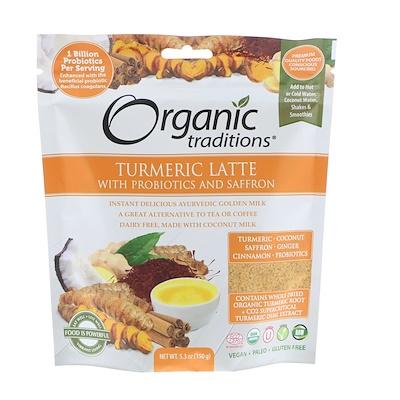 Купить Organic Traditions Латте с куркумой, пробиотиками и шафраном, 5, 3 унц. (150 г)