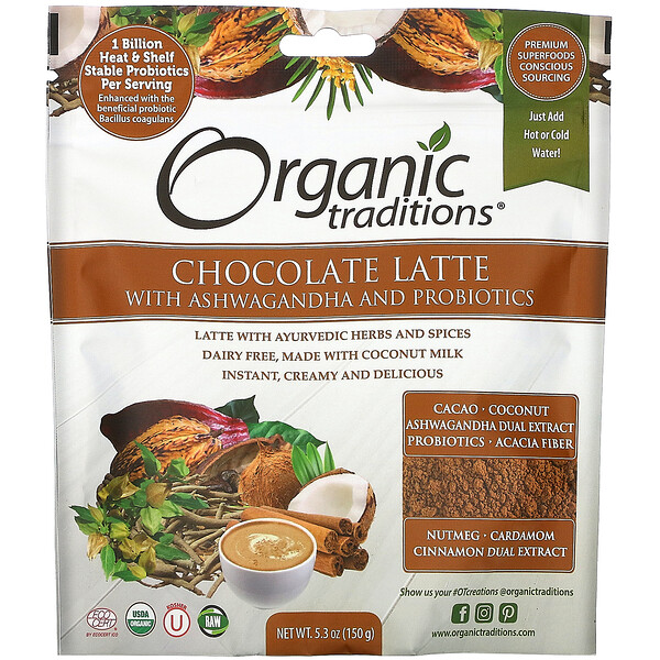 Organic Traditions, Chocolate Latte with Ashwagandha and Probiotics, 5.3 oz (150 g)