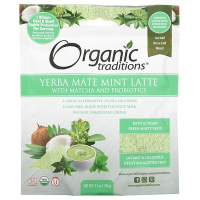 Organic Traditions Yerba Mate Mint Latte with Matcha and Probiotics, 5.3 oz (150 g)