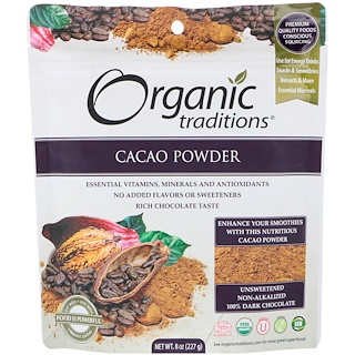 Organic Traditions, مسحوق الكاكاو، 8 أونصات (227 جم)