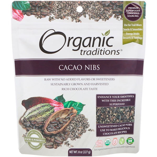 Organic Traditions, كاكاو نبس، 8 أوقية (227 جم) (Discontinued Item)