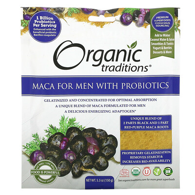 Organic Traditions Maca For Men With Probiotics, 5.3 oz (150 g)