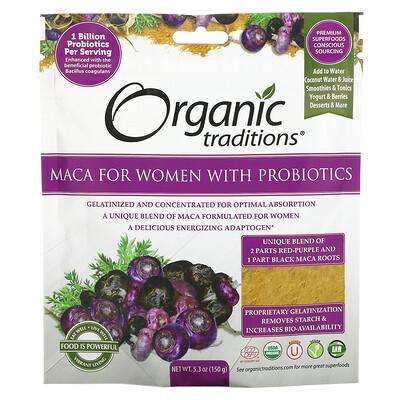 Купить Organic Traditions Maca For Women with Probiotics, 5.3 oz (150 g)