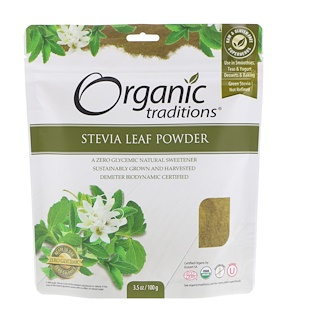 Organic Traditions, مسحوق ورقة ستيفيا، 3.5 أوقية (100 جم)