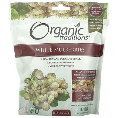 Organic Traditions White Mulberries, 8 oz (227 g)