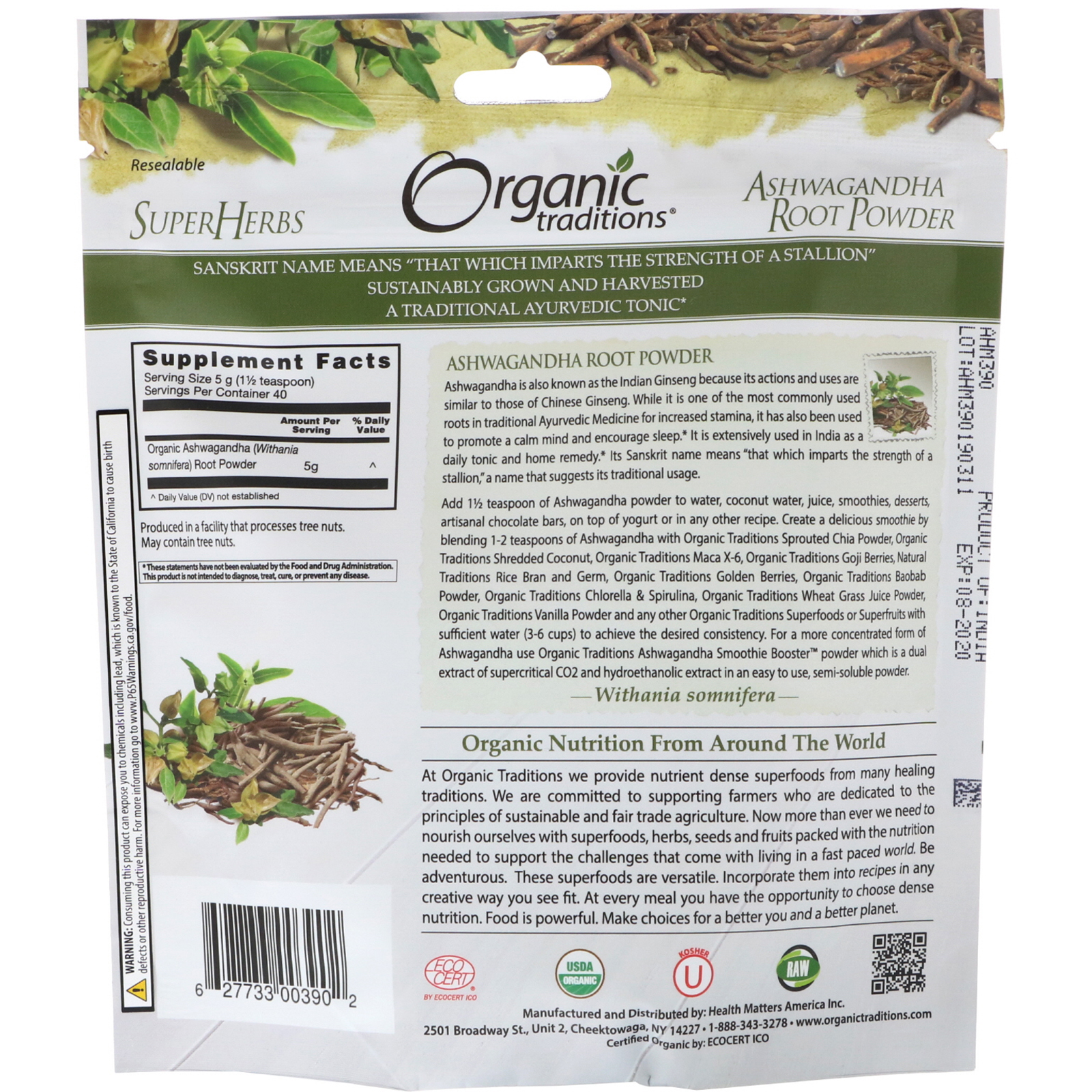 Organic Traditions, Ashwagandha Root Powder, 7 oz (200 g