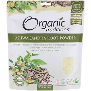 Organic Traditions, Raíz Ashwagandha en polvo, 7 oz (200 g)
