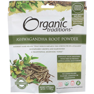 Organic Traditions, Racine d'Ashwagandha en poudre, 200g (7 oz)