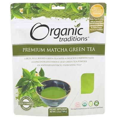 Купить Organic Traditions Зеленый чай матча, премиум, 3, 5 унции (100 г)