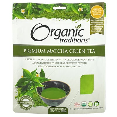 Organic Traditions Premium Matcha Green Tea, 3.5 oz (100 g)