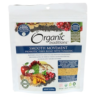 Organic Traditions, Smooth Movement, Probiotic Fiber Blend with Turmeric, 7 oz (200 g)