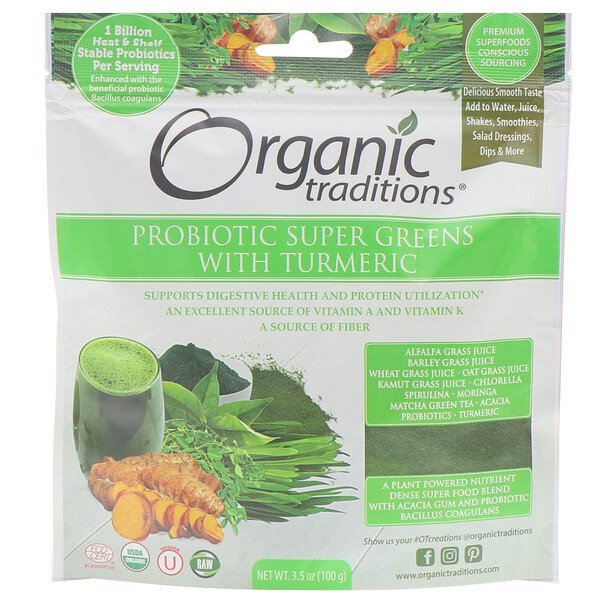 Organic Traditions, مكمل غذائي Probiotic Super Greens with Turmeric، وزن 3.5 أونصة (100 جم)