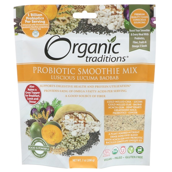 Organic Traditions, Probiotic Smoothie Mix, Luscious Lucuma Baobab, 7 oz (200 g)