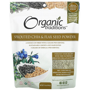 Organic Traditions, Sprouted Chia & Flax Seed Powder, 16 oz (454 g)