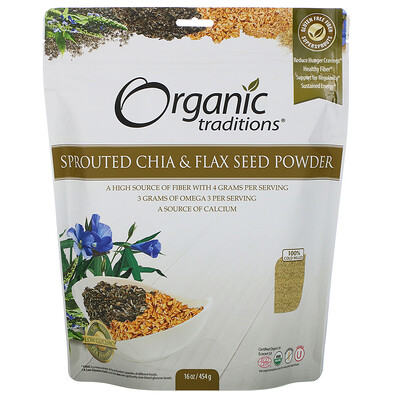 Купить Organic Traditions Sprouted Chia & Flax Seed Powder, 16 oz (454 g)