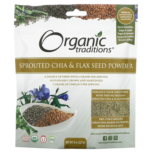 Organic Traditions, Sprouted Chia & Flax Seed Powder, 8 oz (227 g)