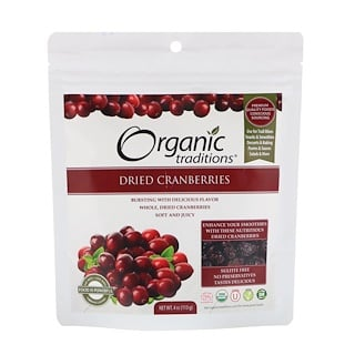 Organic Traditions, Dried Cranberries, 4 oz (113 g)