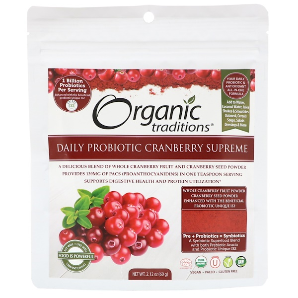Organic Traditions, Probiótico Diário Cranberry Supreme, 2,12 oz (60 g) (Discontinued Item)
