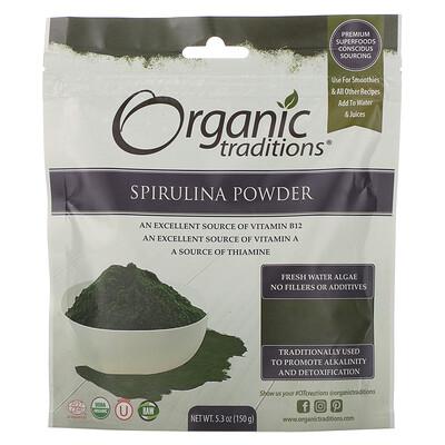 Купить Organic Traditions Spirulina Powder, 5.3 oz (150 g)