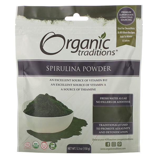Organic Traditions, Spirulina Powder, 5.3 oz (150 g)