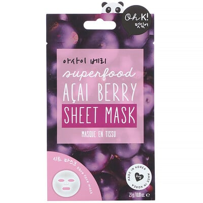 Купить Oh K! Superfood Sheet Mask, Acai Berry, 1 Sheet, 0.81 oz (23 g)