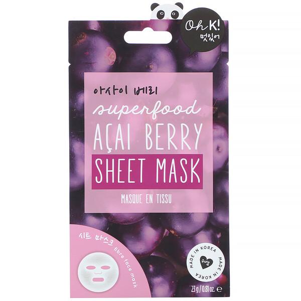 Superfood Sheet Mask, Acai Berry, 1 Sheet, 0.81 oz (23 g)