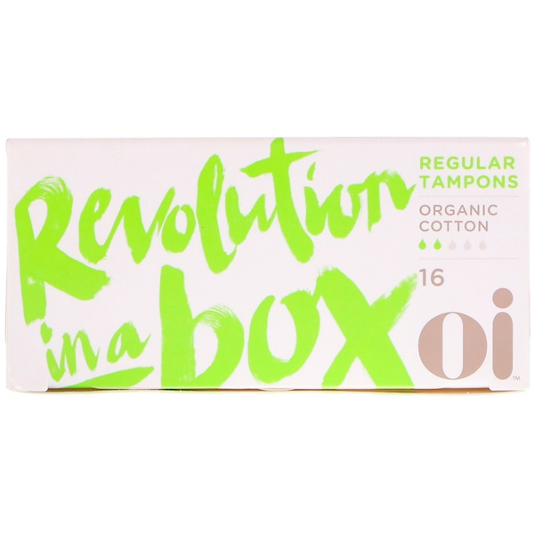 Oi, Organic Cotton Tampons, Non-Applicator, Regular, 16 Tampons