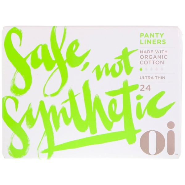 Oi, Organic Cotton Ultra Thin Panty Liners, 24 Liners