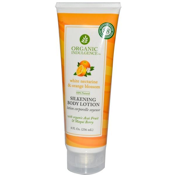 Organic Indulgence, Silkening Body Lotion, White Nectarine & Orange Blossom, 8 fl oz (236 ml) (Discontinued Item)