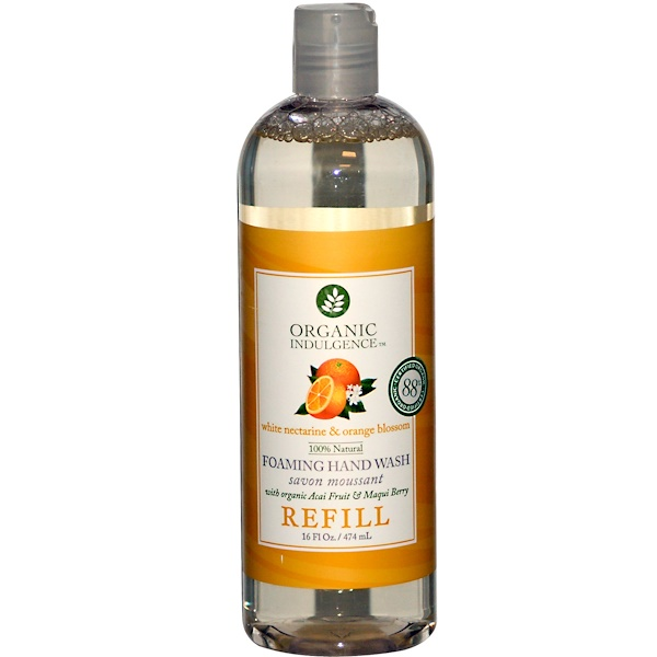 Organic Indulgence, Foaming Hand Wash Refill, White Nectarine & Orange Blossom, 16 fl oz (474 ml) (Discontinued Item)