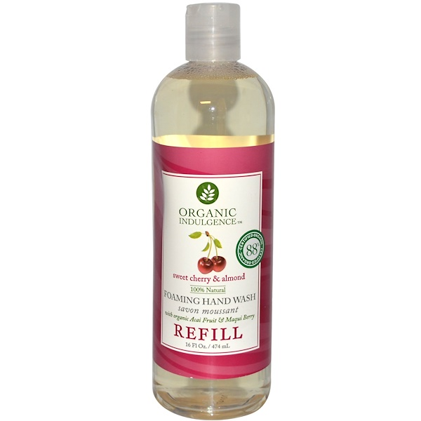 Organic Indulgence, Foaming Hand Wash, Sweet Cherry & Almond, Refill, 16 fl oz (474 ml) (Discontinued Item)