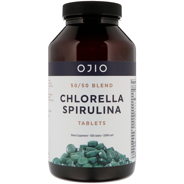 Ojio, Chlorella Spirulina, 50/50 Blend, 250 mg, 1000 Tablets