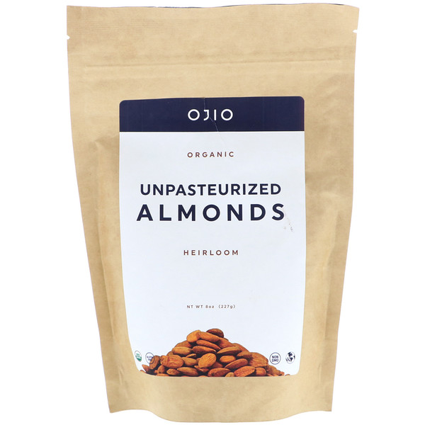 Ojio, Organic Unpasteurized Almonds, 8 oz (227 g)